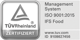 TÜV Rheinland Siegel - Management-System ISO 9001:2015 IFS Food